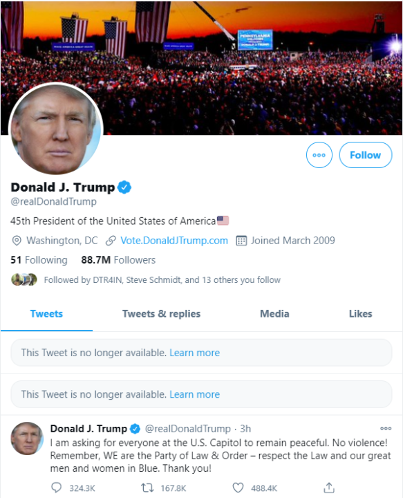 Donald Trump's Twitter Account Permanently Deleted